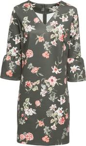 Sukienka bonprix BODYFLIRT z długim rękawem z dekoltem w kształcie litery v midi
