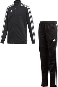 Czarny dres dziecięcy Adidas w paseczki