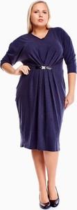 Sukienka Fokus z długim rękawem dla puszystych z dekoltem w kształcie litery v