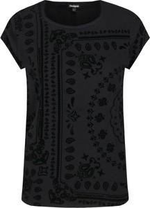 Czarna bluzka Desigual w stylu casual z krótkim rękawem z dekoltem w karo