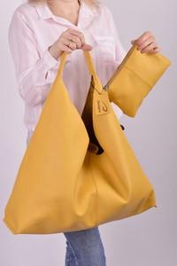 Żółta torebka Designs Fashion w wakacyjnym stylu na ramię duża