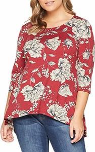 Czerwona bluzka amazon.de z okrągłym dekoltem w stylu casual z długim rękawem