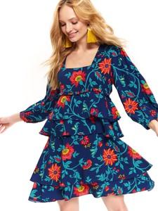 Sukienka Top Secret mini z długim rękawem z dekoltem w karo
