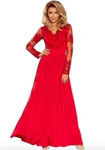 Sukienka NUMOCO z długim rękawem z dekoltem w kształcie litery v
