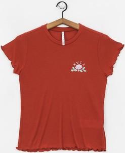 Czerwony t-shirt RVCA z krótkim rękawem