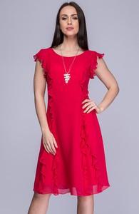 Sukienka Semper z okrągłym dekoltem trapezowa z krótkim rękawem