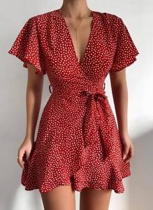 Czerwona sukienka Sandbella mini z krótkim rękawem