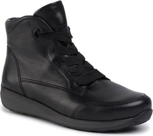 Czarne botki ara w stylu casual z płaską podeszwą