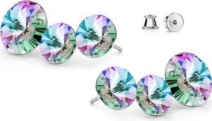 GIORRE SREBRNE POTRÓJNE KOLCZYKI SWAROVSKI RIVOLI 925 : Kolor kryształu SWAROVSKI - Crystal VL, Kolor pokrycia srebra - Pokrycie Jasnym Rodem