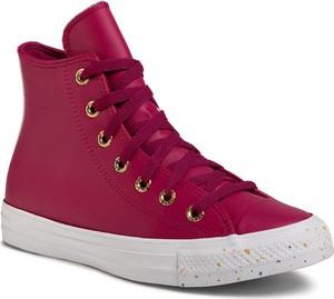 Czerwone buty sportowe Converse sznurowane