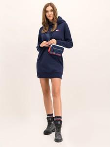 Granatowa sukienka Tommy Jeans z dekoltem w kształcie litery v w stylu casual mini