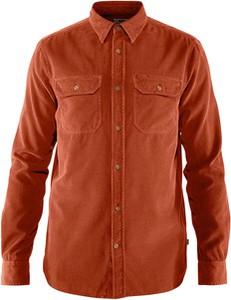 Pomarańczowa koszula Fjällräven z kołnierzykiem button down z bawełny z długim rękawem