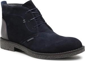 Granatowe buty zimowe Badura ze skóry w stylu casual