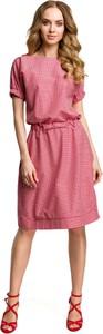 Sukienka MOE z tkaniny z okrągłym dekoltem z krótkim rękawem