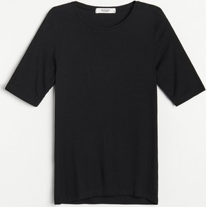 Czarna bluzka Reserved z dzianiny z krótkim rękawem z okrągłym dekoltem