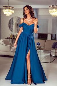 dac01215e9 Niebieska sukienka Emo Sukienki z dekoltem w kształcie litery v maxi