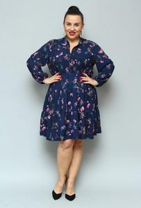 Sukienka KARKO mini z tkaniny z długim rękawem