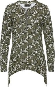 Zielona bluzka bonprix z okrągłym dekoltem z długim rękawem