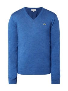 Niebieski sweter Lacoste z wełny