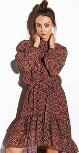 Sukienka FLORENCE z jedwabiu w stylu casual z długim rękawem