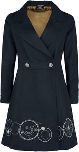 Granatowy płaszcz Emp w stylu casual z wełny