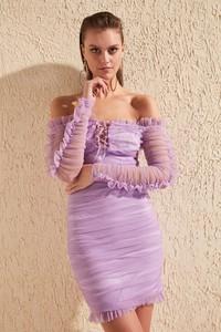 Fioletowa sukienka Trendyol mini z długim rękawem