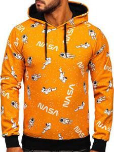 Pomarańczowa bluza Denley w młodzieżowym stylu z nadrukiem