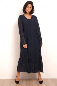 Czarna sukienka Plus Size Fashion z okrągłym dekoltem z długim rękawem