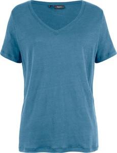 Niebieski t-shirt bonprix bpc bonprix collection z lnu z krótkim rękawem