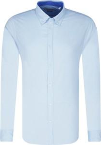Niebieska koszula Trussardi Jeans w stylu casual z lnu