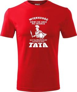 Czerwony t-shirt TopKoszulki.pl w młodzieżowym stylu z bawełny z krótkim rękawem