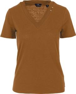 Brązowa bluzka Scotch & Soda w stylu casual z dekoltem w kształcie litery v z krótkim rękawem