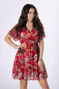 Sukienka Ptakmoda.com z szyfonu z dekoltem w kształcie litery v