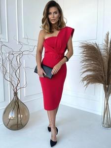 Czerwona sukienka Versada z dekoltem w kształcie litery v z krótkim rękawem midi
