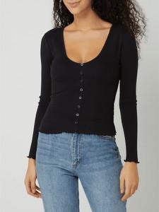 Czarna bluzka Review z długim rękawem z bawełny z okrągłym dekoltem