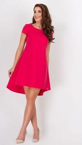 6113011127 ... Sukienki • Fioletowa Trapezowa Sukienka z Asymetryczną Nakładką. Różowa  sukienka Awama z okrągłym dekoltem midi z krótkim rękawem