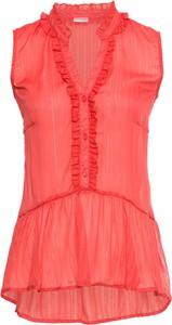 Różowa bluzka bonprix BODYFLIRT z dekoltem w kształcie litery v bez rękawów