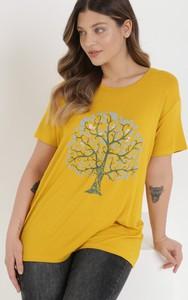 Żółty t-shirt born2be z bawełny w młodzieżowym stylu