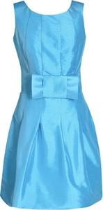 Turkusowa sukienka Fokus z okrągłym dekoltem mini z krótkim rękawem