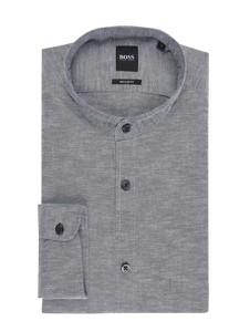 Granatowa koszula BOSS Casual z długim rękawem ze stójką