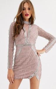 Sukienka Asos Edition bandażowa z długim rękawem mini
