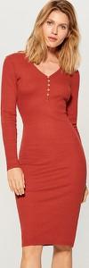 Czerwona sukienka Mohito z tkaniny mini z dekoltem w kształcie litery v