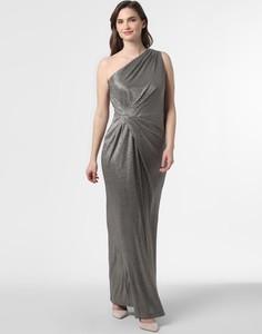 Srebrna sukienka Ralph Lauren z asymetrycznym dekoltem maxi bez rękawów