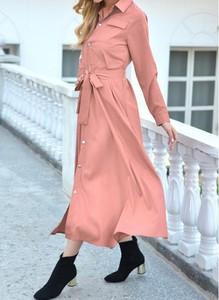 Sukienka Cikelly z dekoltem w kształcie litery v z bawełny z długim rękawem