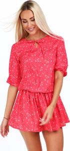 Sukienka Fasardi z okrągłym dekoltem mini z tkaniny
