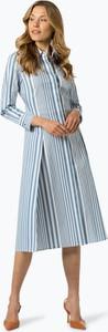 Niebieska sukienka Boss w stylu casual z długim rękawem midi