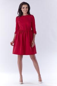 Czerwona sukienka Awama z kołnierzykiem