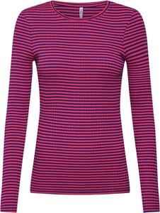 Różowa bluzka Only z długim rękawem z dżerseju w stylu casual