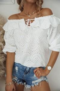 Bluzka Shopaholics Dream z bawełny z długim rękawem z okrągłym dekoltem