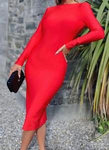 Czerwona sukienka Arilook z długim rękawem z okrągłym dekoltem